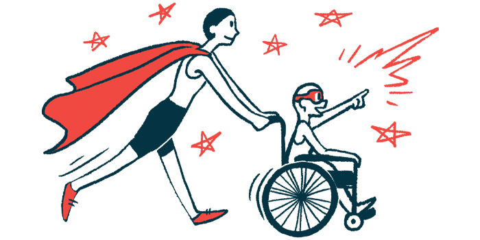rare disease clinical trial participants | Fabry Disease News | Illustration of woman in cape pushing child in wheelchair